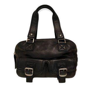 MICHAEL KORS Vintage Black Pebbled Leather Satchel Buckle Handbag